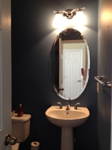 Half Bath: Sherwin Williams Secure Blue.