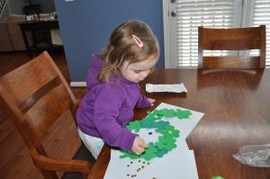 Harper planning her wreath.