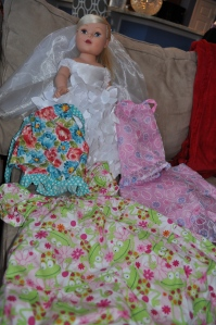 Harper's newest doll. The doll and Harper have dresses to match!